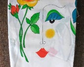 Faces And Flowers Border Print Fabric