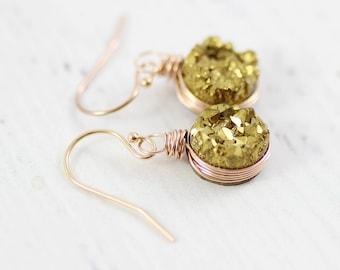 Rose Gold Druzy Earrings, Druzy Geode Earrings, Bridesmaid Jewelry Gift, Small Drop Earrings, Wire Wrap Earrings, Gold Dangle Earrings