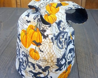 Japanese Knot Bucket Bag - Small Project Bag - Pumpkins/Bats Filigree