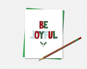 Be Joyful Christmas Cards - Christmas Cards - Christmas Card- Set of 10 - Xmas Cards