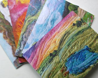 Notecard Set: 'Natural Beauty' Reproductions of Original Fiber Art, All Natural (5 cards + envelopes)