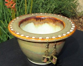 Handmade Earring Bowl - Jewelry Holder in Amber and Sage