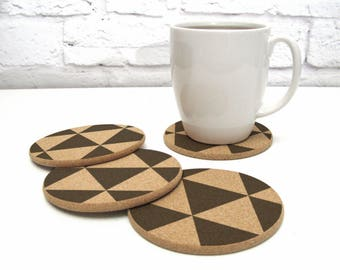 Triangles Geometric Pattern Cork Coaster Set Modern Home Decor Hostess Gift Idea