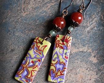 Bohemian artisan dangle earrings. Colorful boho earrings. Polymer clay handmade beads. Carnelian Jade. Lightweight. Solid copper.
