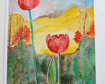 Colorado Watercolor, Colorado Floral, Floral Painting, Floral Art, Red Tulips, Mountains, Colorful, Spring Floral, Aspen Trees, Colorado Art