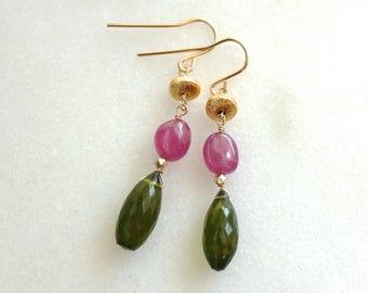 Green Apatite, Gold Vermeil, Pink Sapphire, 14kg fill Linked Drop Earrings...