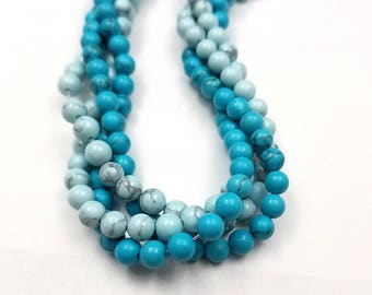2 Strands Light Blue, Turquoise Blue Howlite Beads 6MM (H2639)