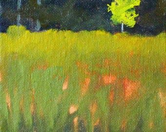 Tree Painting, Original Oil, 4x6 Canvas, Springtime Landscape, Yellow Green, Field Meadow, Small Wall Decor, Tiny Nature Art
