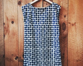 Minimalist Loose Fit Tunic Dress in Indigo Block Print Cotton