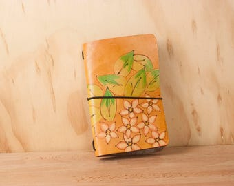 Faux Dori Travelers Notebook - Leather Midori Style Journal with Flowers and Leaves - Persisted Pattern in white, pink, green, antique tan