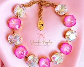 Ultra Pink AB With Clear AB 12mm Cushion Cut Swarovski Crystal Statment Bracelet loads of *SPARKLE*