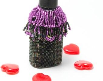 Beaded Bottle, Plutus, Purple, Black, Beadwork, Home Decor