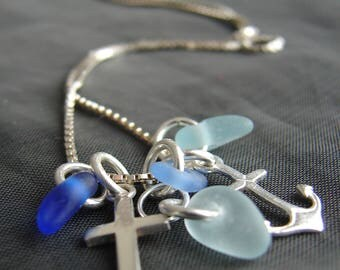 The Anchor Holds sea glass necklace / pastel sea glass jewelry / blue beach glass pendants / ocean charms cluster necklace / cross jewelry