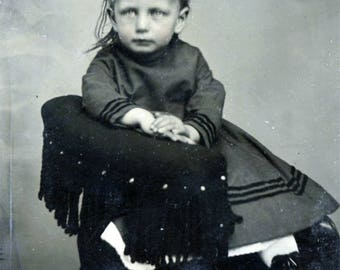 vintage photo 1899 Tintype Little Girl Pink Tinted Cheeks Sits Chair