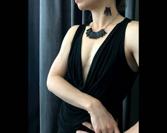 Feather - Black Wood Flare Stick Necklace or Bird Wing Earrings - Sold Separately - Edgy Boho Tribal Jewelry - Designer Modern Jewelry