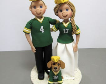 Reserved for Erika  balance due for a custom Green Bay Packers Wedding Cake topper with dog