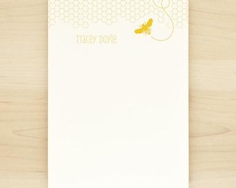 HONEY Personalized Notepad - Modern Bee Honeycomb Letterhead