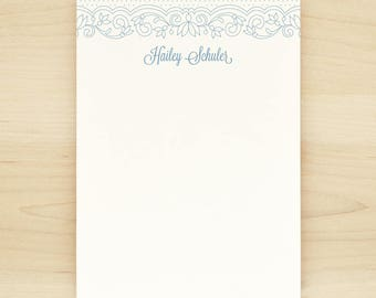 LACE Personalized Notepad - Pretty Feminine Custom Letterhead