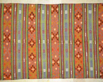 Kilim Rug 6' x 11' Orange Multicolor Bright Stripe Wool Vintage Cicim