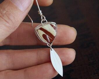 Rawhide, Owyhee Jasper and silver earrings