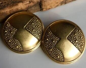 Vintage Clip On Monet Earrings, Vintage Earrings, Large Disc Earrings, Textured Earrings, Bronze Colored Earrings, Etsy, Etsy Jewelry
