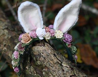 OOAK Rabbit Wreath for Blythe - Mori Girl Bunny Ears Floral Headband