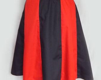 Red Black Panel Skirt, Size 12-14, sample sale, Harley Quinn.