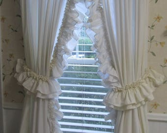 Vintage Ruffled Country Curtains - Long Tie Back Natural Muslin Curtains - Two Double Ruffled Panels