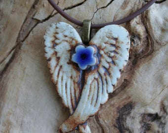 Rustic Royal Blue Winged Porcelain Flower Pendant 1