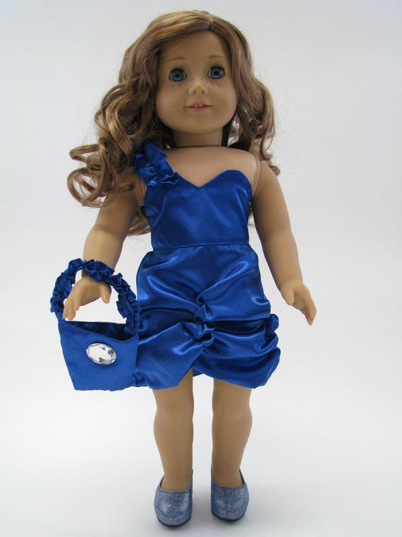 Electric Blue One Shoulder Satin Dress - 18 Inch Doll Clothes