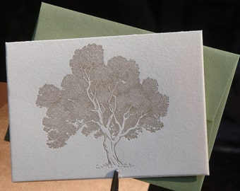 Leafy tree letterpress folded notecards, set of 4