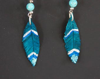 Turquoise & silver Leather Feather Earrings