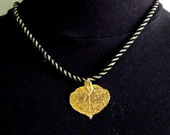 Jewelry #Necklace #Gold Aspen Leaf #Heart Shaped  #Kumihimo Braid #Black Gold #Fall