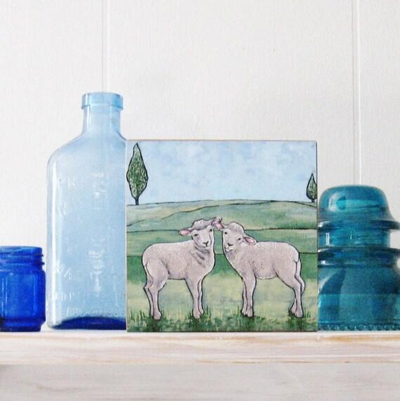 Sheep Art Print - Giclee Print - Farm Animal Art - Sheep Illustration - Folk Art Painting - Gift for Her - Wall Decor - Original Acrylic Art