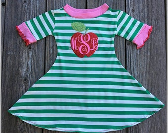 Back To School Girl Apple Dress, Back To School Girl Personalized Outfit, Back To School, Girl School Clothes, Green White Stripe Dress