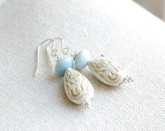 White and Gold Earrings, Ornate Earrings, Blue and Gold, Holiday Jewelry, Winter Earrings, Elegant Jewelry, Acrylic and Sterling Silver