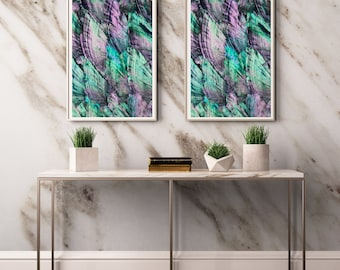 Set of 2 Abalone  Prints  - Prints (Print #028 and 029 )Fine Art Print - Two Paper Choices- Mineral Geode Agate Crystal Decor