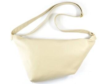 Emilie - Cream Leather Shoulder Bag Handmade
