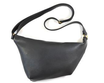 Emilie - Black Leather Shoulder Bag Handmade SS18