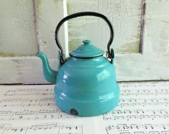Vintage Polish Turquoise Enamel Teapot
