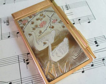 Little Vintage Gold Toned Swan Pocket Note Pad and Pencil