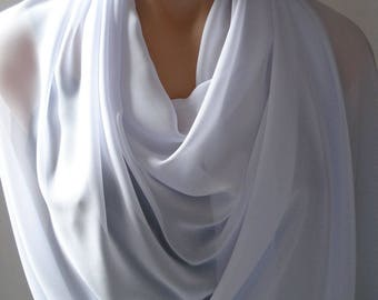 White Scarf, Sheer Chiffon White Wrap Shawl Stole, White Stole, Shawl White, White Shawl, White Wrap, Scarf Wrap, White Stole