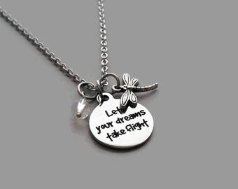 Dragonfly Charm Necklace, Dragonfly Necklace, Let Your Dreams Take Flight, Inspirational Jewelry, Graduation Gift, Stainless Steel Chain