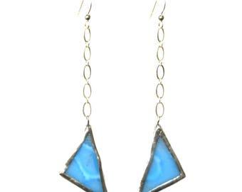 Chain Linked Earring- Blue Triangle Earring