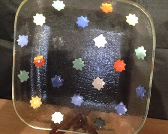 Glass Serving Bowl with colorful stars