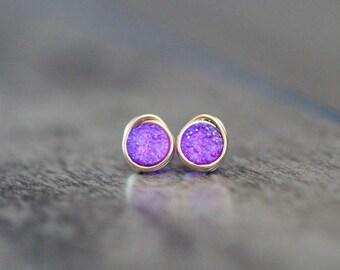 Druzy Studs, Small Purple Earrings , Amethyst Lilac Bezel Wrapped Tiny Druzy Quartz In Gold , SIlver , Rose Gold - Micros ( Sugarplum )