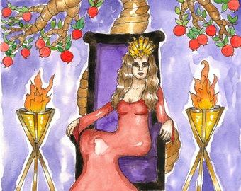 Goddess Art Greek Goddess Persephone Original Watercolor Painting Dark Goddess Underworld Pagan Sacred Feminine Fantasy Art Spiritual Art