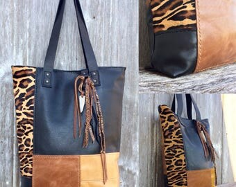 Leather Patchwork Tote Bag in Black and Gold (Butterscotch) Leathers by Stacy Leigh