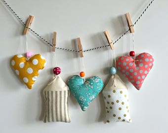 heart, house fabric scrap stuffed hanging ornaments, wall hanging, wall mobile, Valentine decoration, polka dot, modern fabric wall hanging