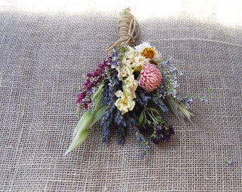 Dusty Pink, Blush, White Sage and Lavender Summer Wildflower Wedding Boutonniere or Corsage in Gold and Pinks Lavender Larkspur and Wheat